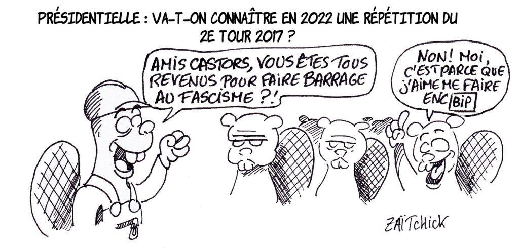dessin presse humour présidentielle 2022 image drôle barrage fascisme