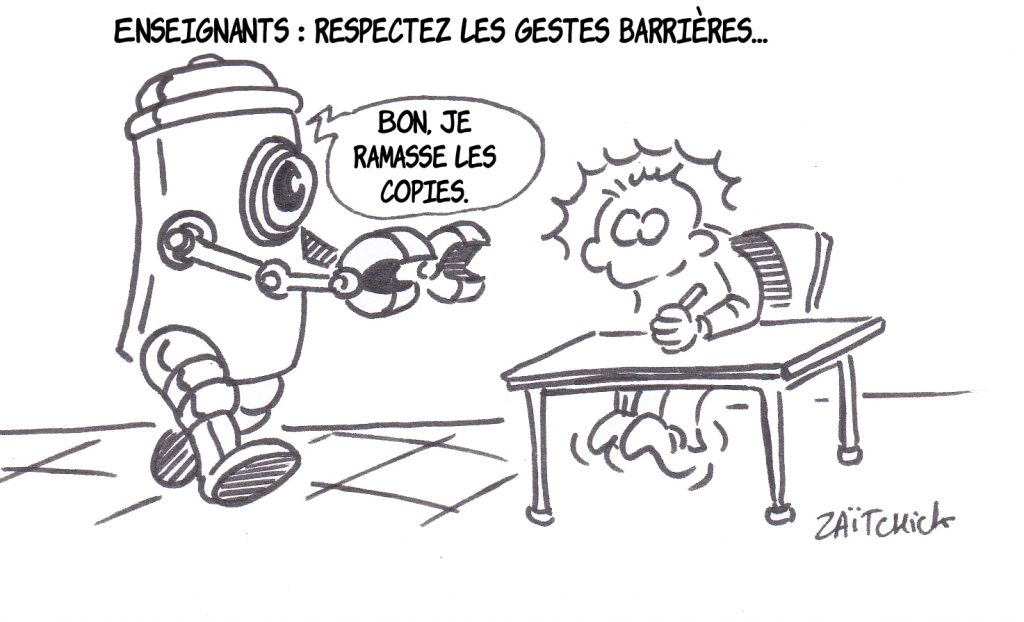 dessin presse humour coronavirus covid-19 image drôle enseignants gestes barrières