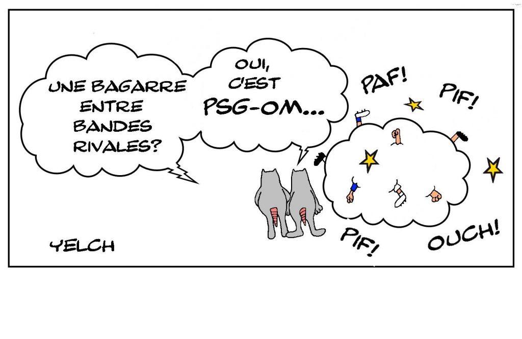 dessins humour football supporter image drôle enfants PSG OM bagarre