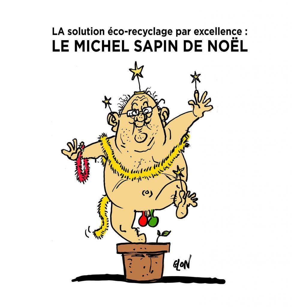 image drôle Michel Sapin de Noël dessin humoristique actualité écologie Pierre Hurmic