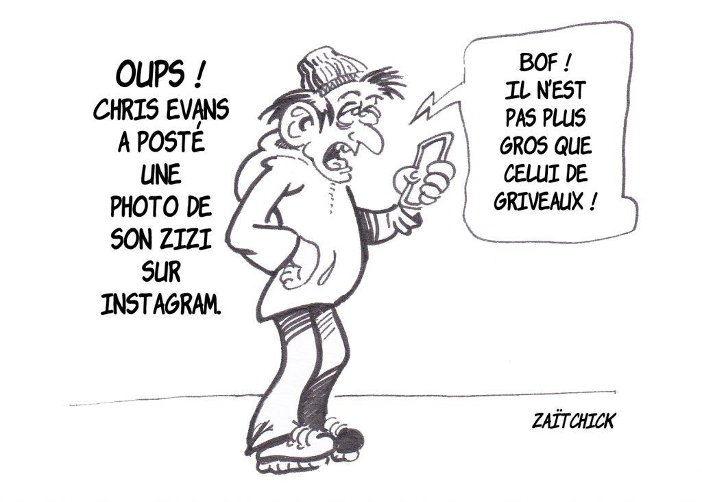 dessin presse humour Chris Evans pénis image drôle Instagram Benjamin Griveaux