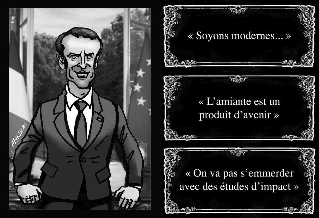 image drôle Emmanuel Macron dessin humour 5G amiante produit avenir