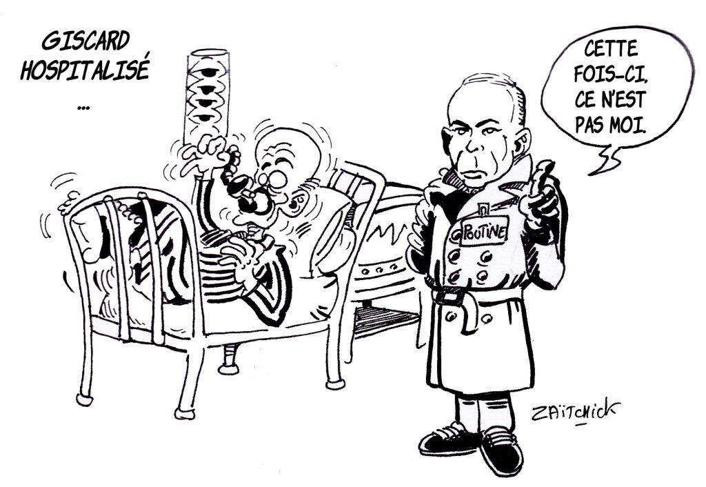 dessin presse humour hospitalisation Valéry Giscard d'Estaing image drôle Vladimir Poutine