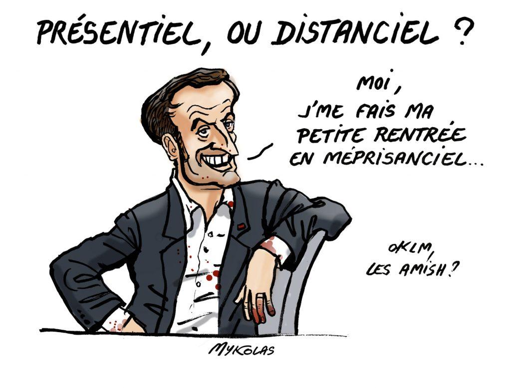 image drôle Emmanuel Macron dessin humour 5G Amish mépris