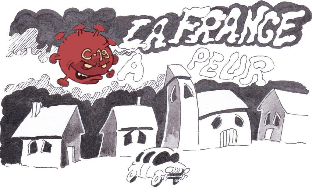 dessin presse humour coronavirus covid-19 image drôle France peur