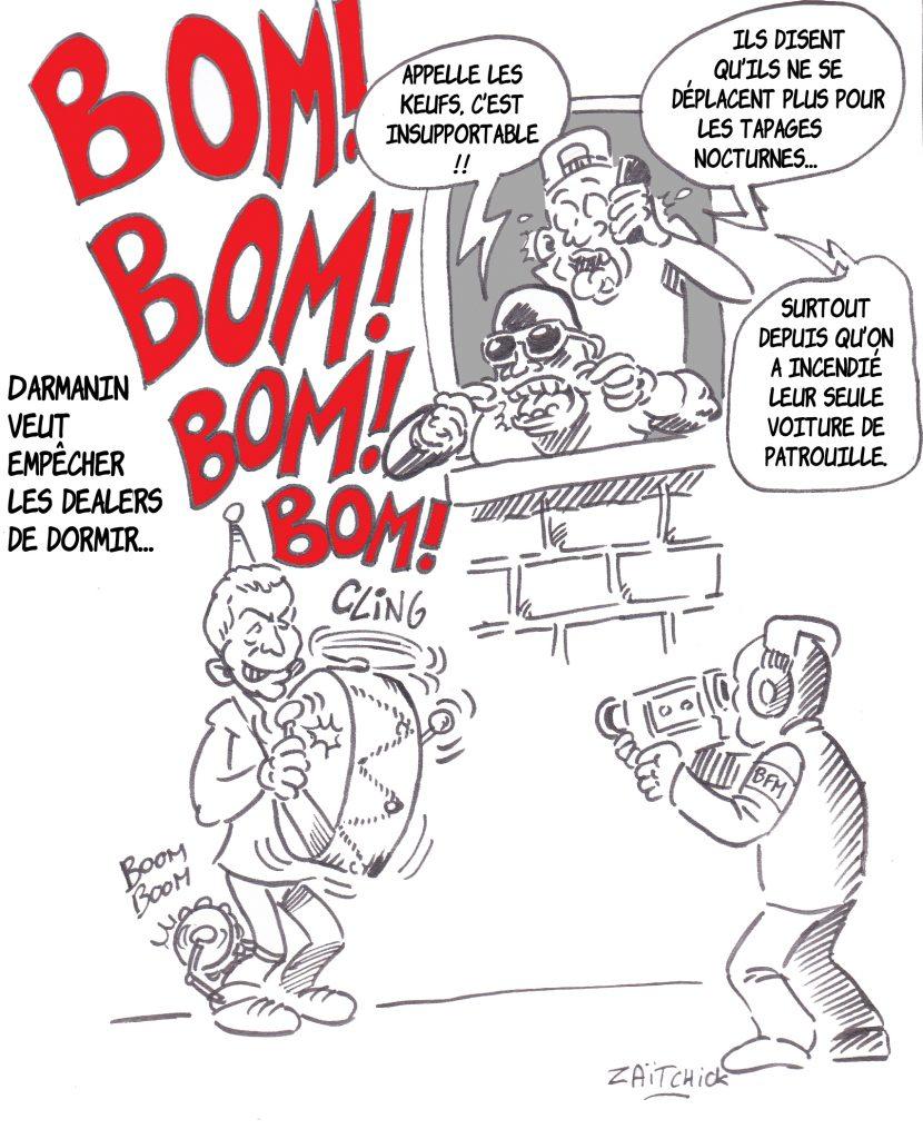 dessin presse humour Gérald Darmanin image drôle dealer racaille sécurité