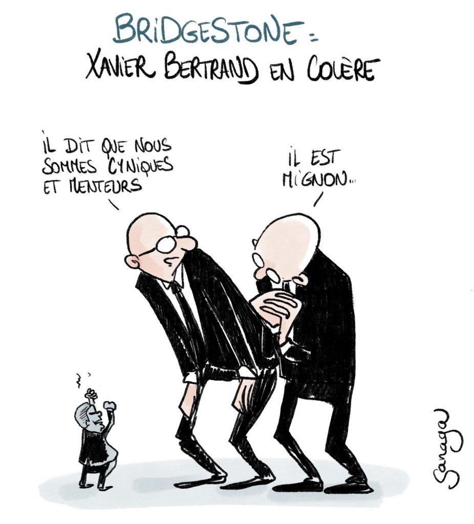 dessin presse humour Xavier Bertrand image drôle fermeture Bridgestone