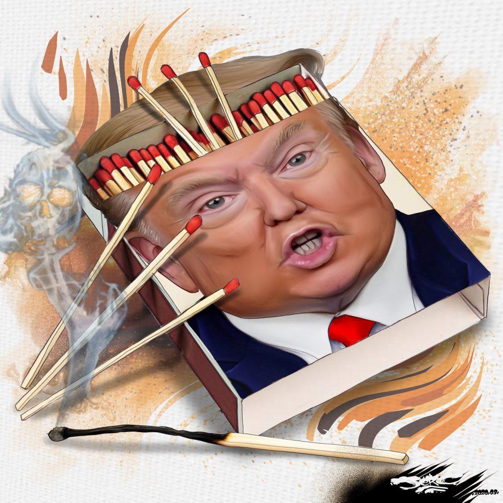 dessin presse humour Donald Trump image drôle incendies États-Unis