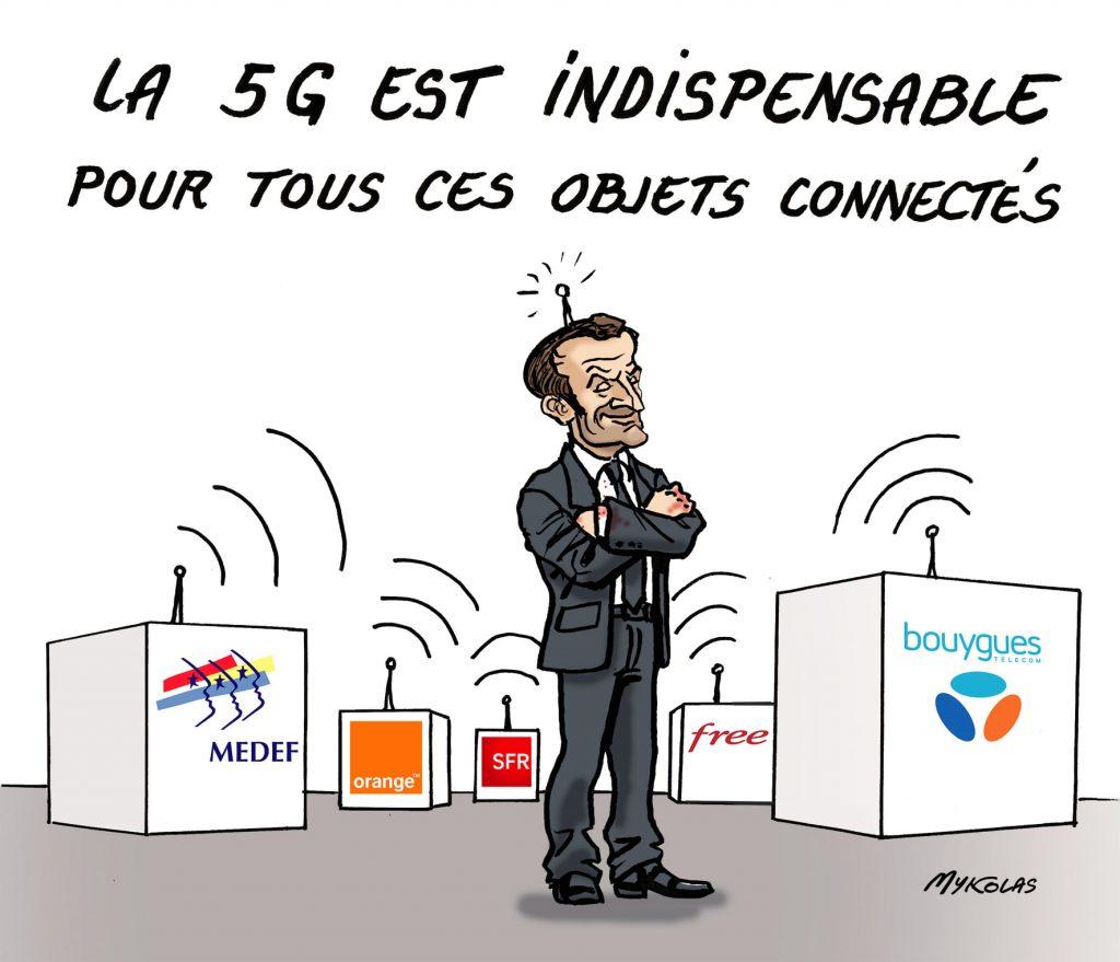 image drôle Emmanuel Macron dessin humour 5G objets connectés
