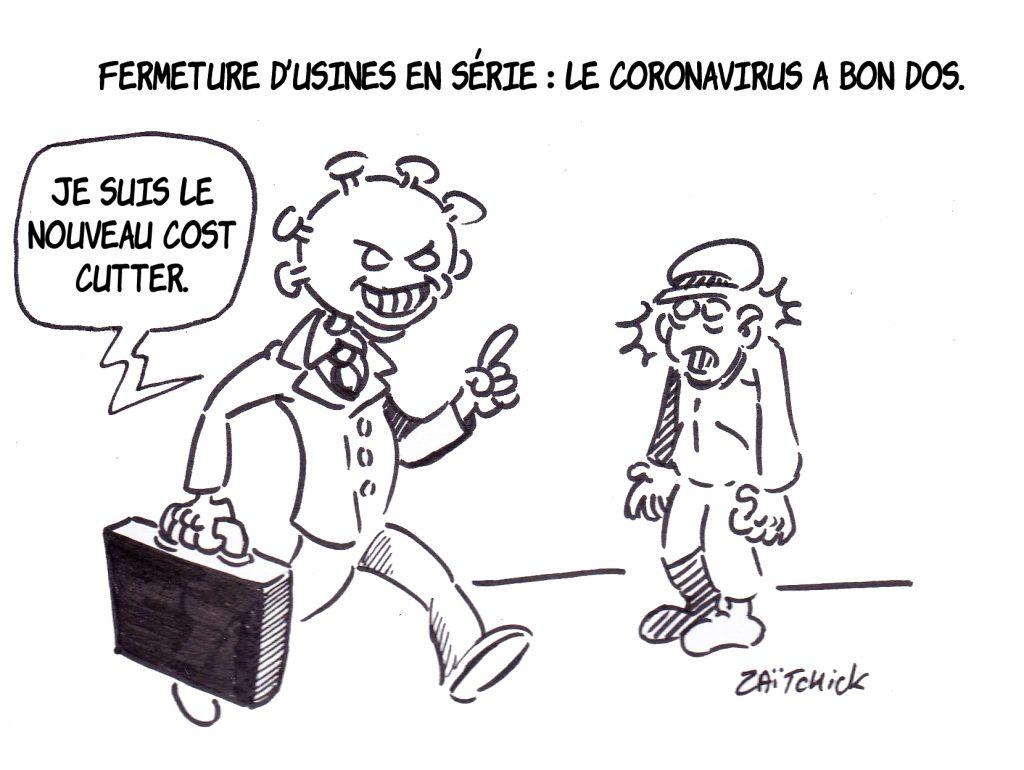 dessin presse humour coronavirus covid-19 image drôle fermeture Bridgestone