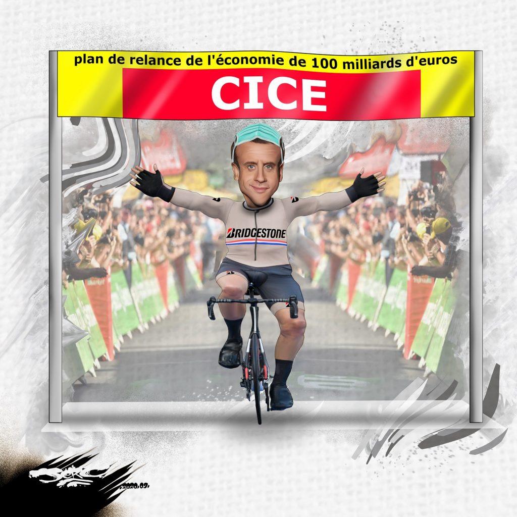dessin presse humour Emmanuel Macron image drôle incendies Tour de France Bridgestone