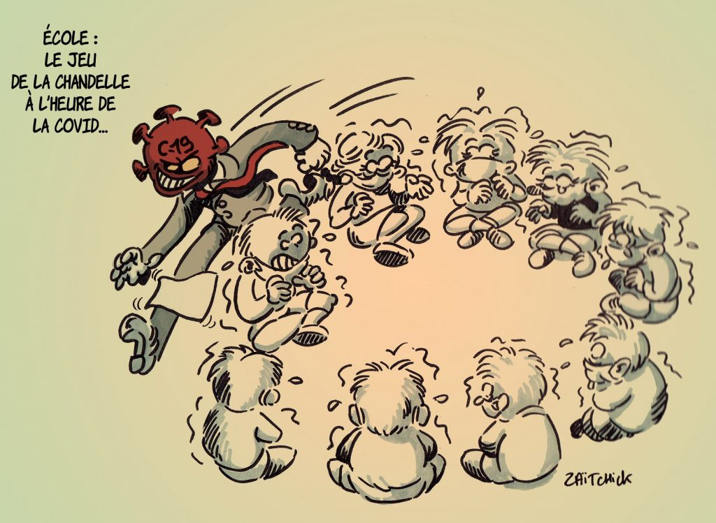 dessin presse humour coronavirus covid-19 image drôle école jeu chandelle