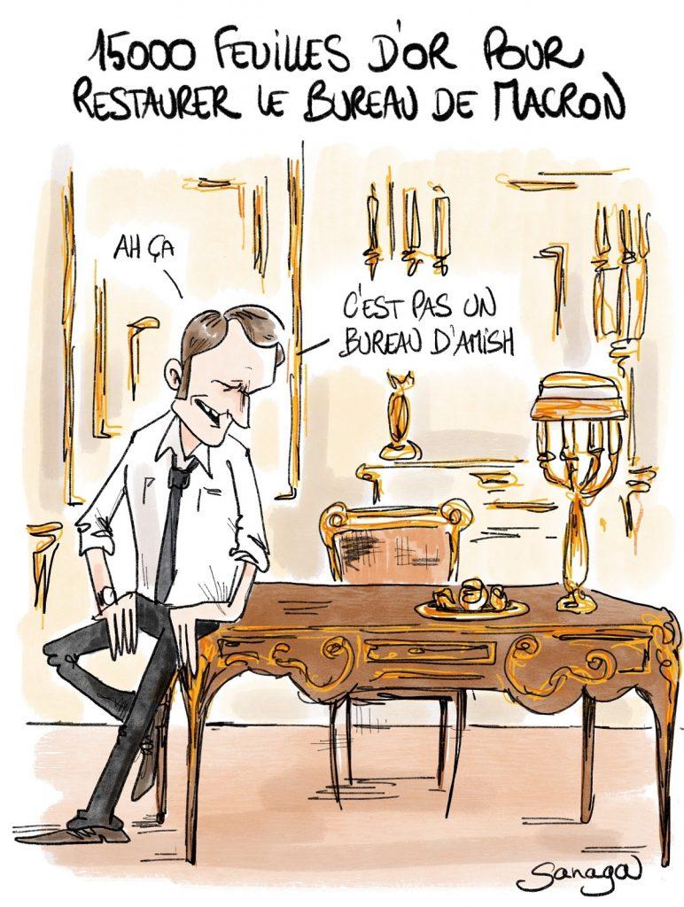 dessin presse humour Emmanuel Macron image drôle restauration bureau Amish