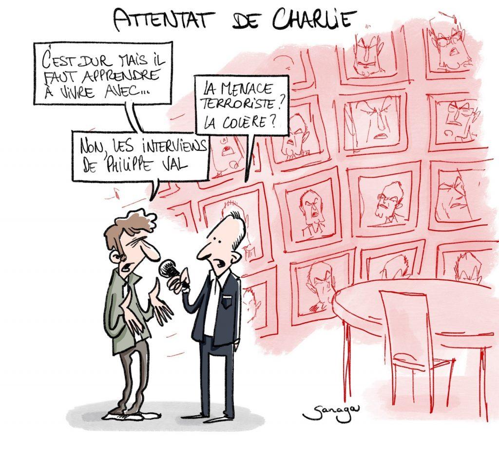dessin presse humour attentat Charlie Hebdo image drôle Philippe Val