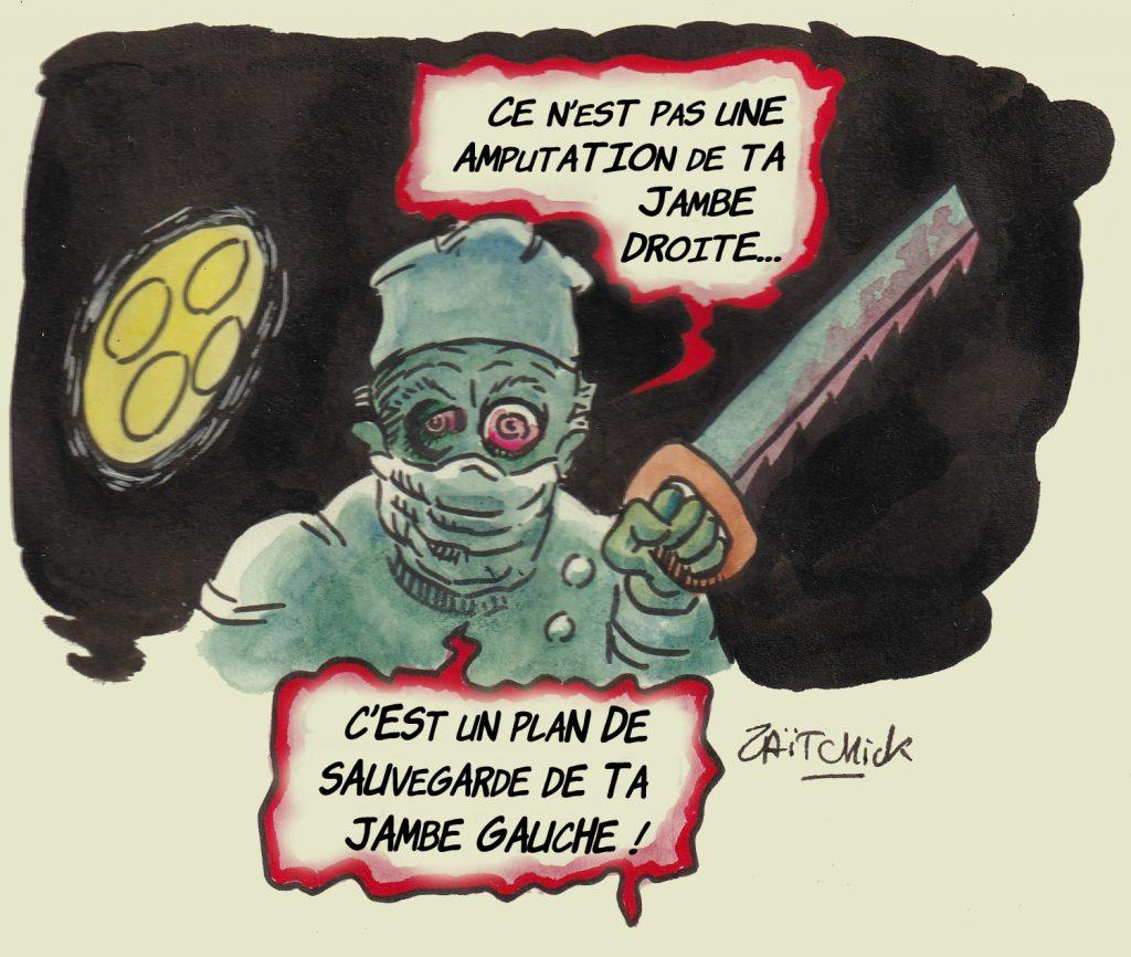 dessin presse humour novlangue chirurgien image drôle amputation