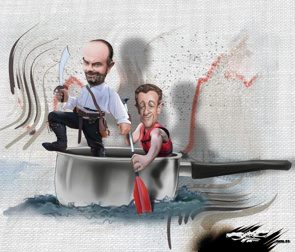 dessin presse humour Édouard Philippe image drôle Nicolas Sarkozy casseroles