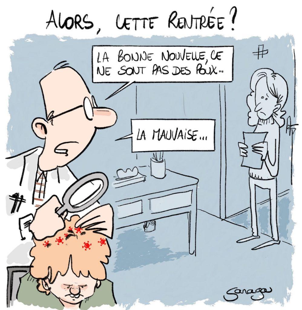 dessin presse humour coronavirus covid-19 image drôle poux rentrée scolaire
