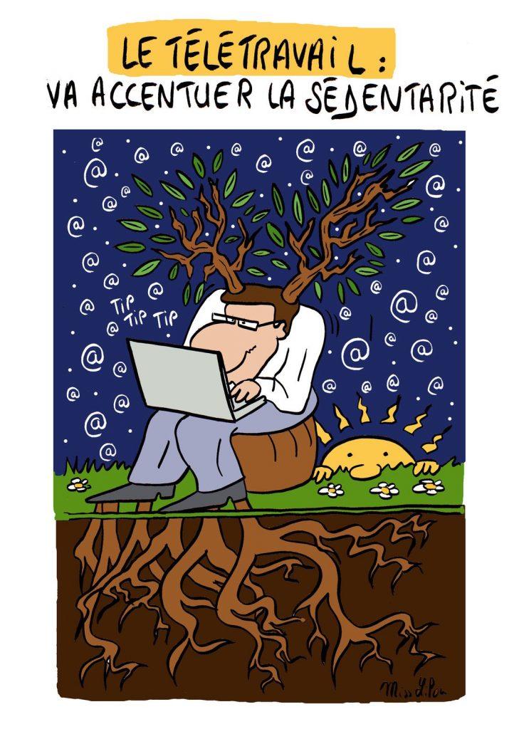 dessin presse humour coronavirus covid-19 image drôle télétravail sédentarité