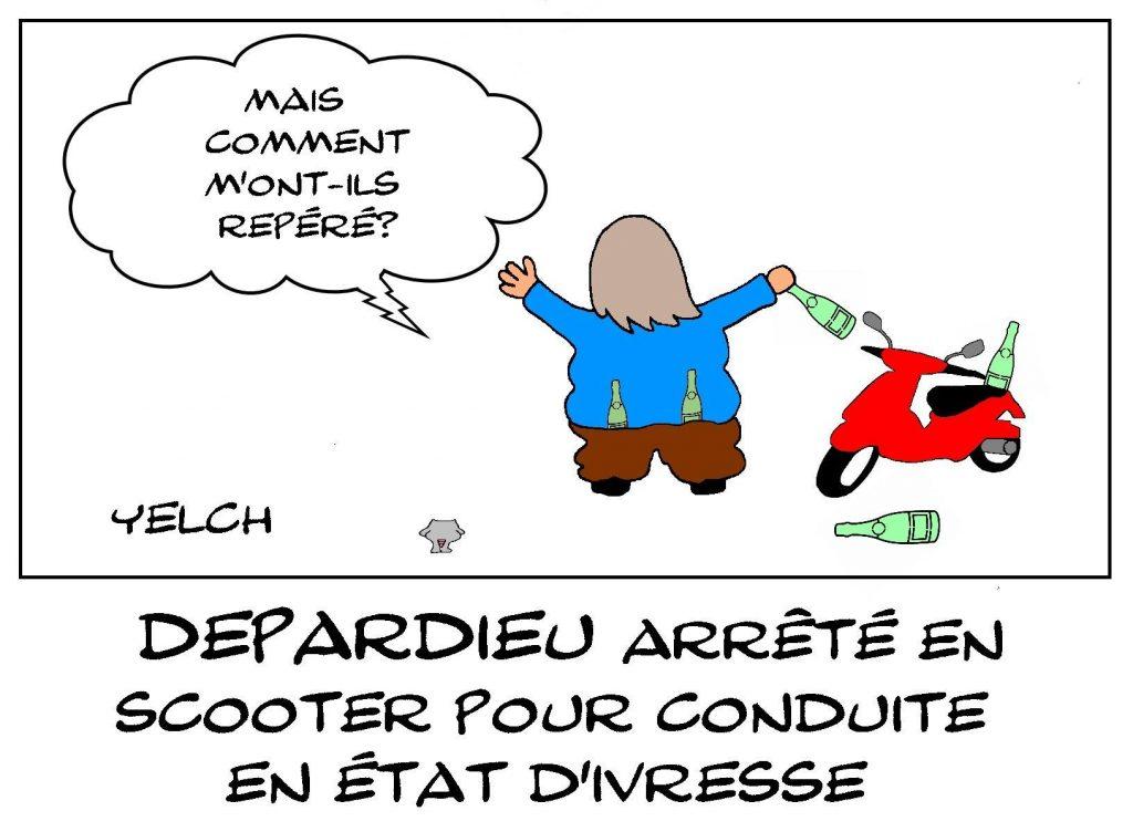 dessin presse humour Gérard Depardieu image drôle conduite en état d'ivresse