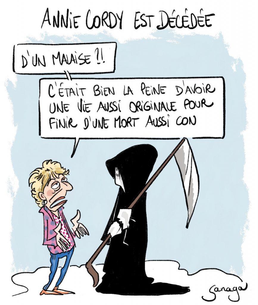 dessin presse humour décès Annie Cordy image drôle Tata Yoyo