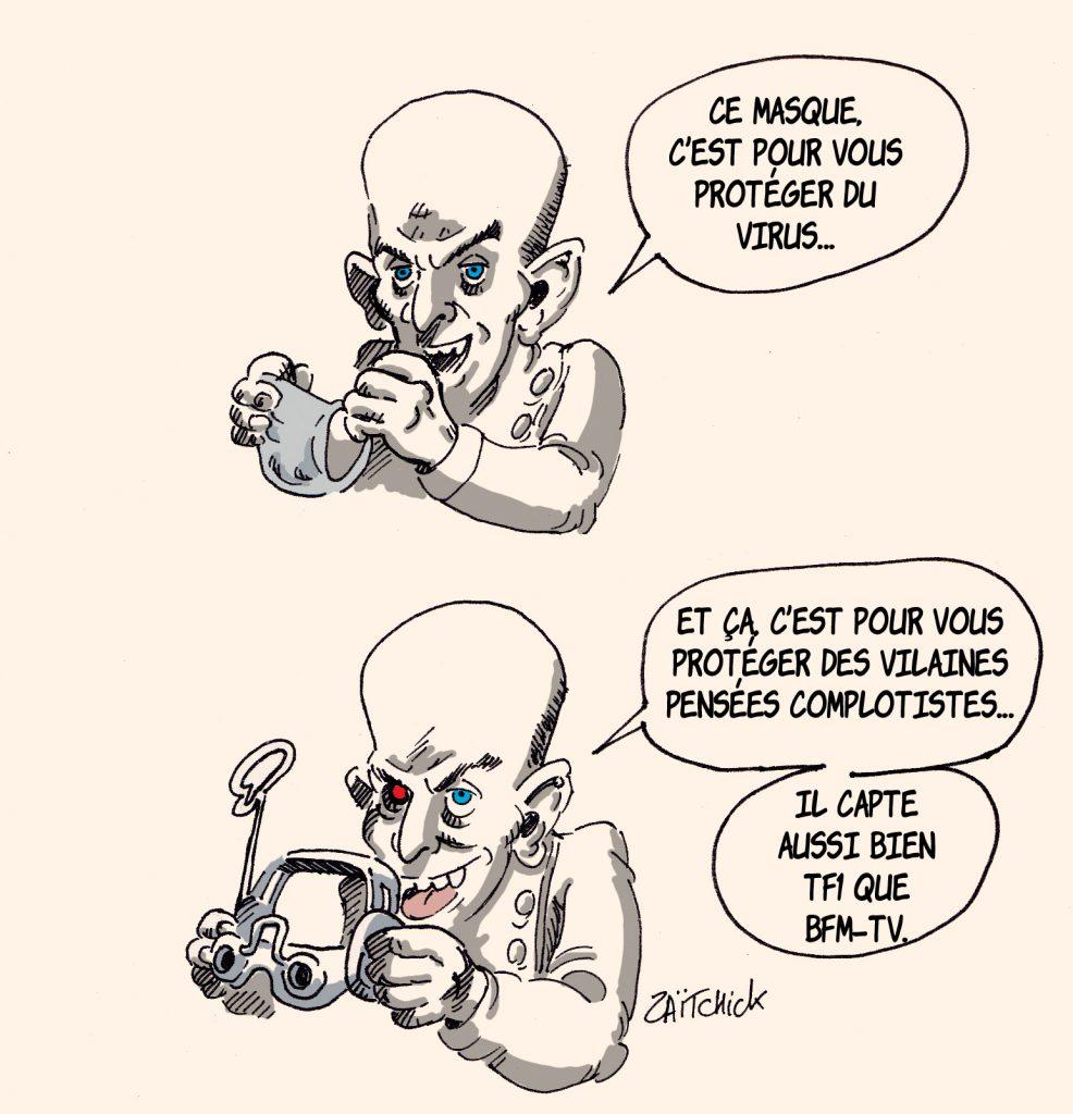 dessin presse humour coronavirus covid-19 image drôle propagande TF1 BFMTV