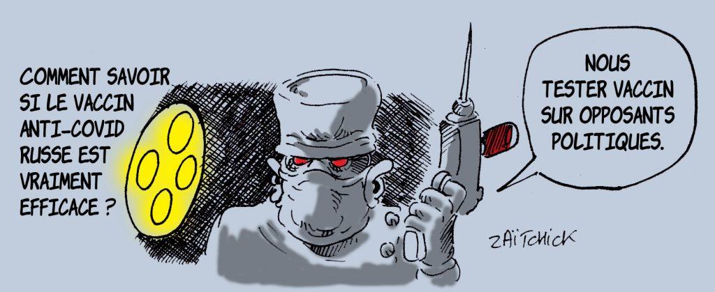 dessin presse humour coronavirus covid-19 image drôle vaccin russe test Alexeï Navalny