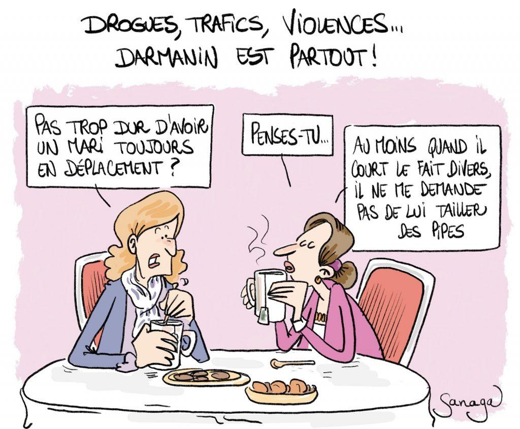 dessin presse humour Gérald Darmanin image drôle déplacement délinquance