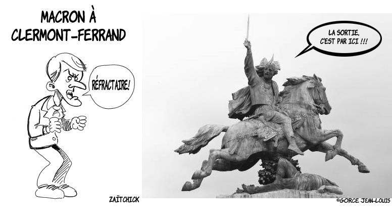 dessin presse humour Emmanuel Macron image drôle Clermont-Ferrand Vercingétorix