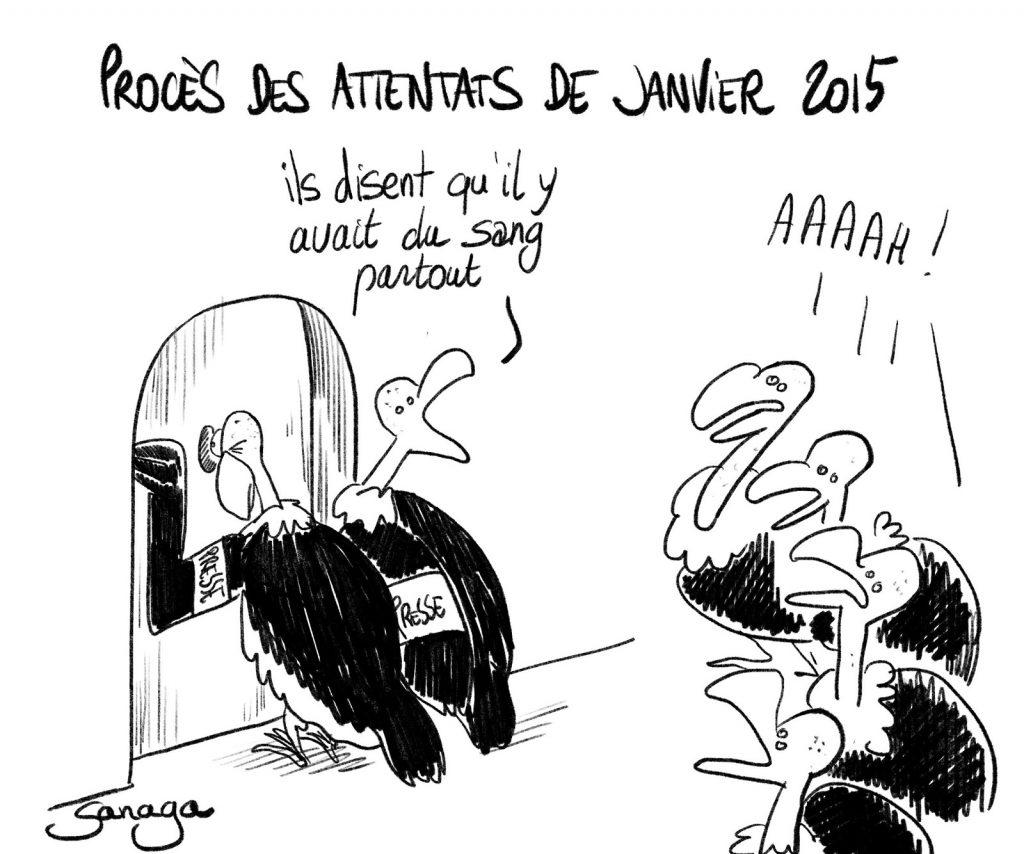 dessin presse humour procès Charlie Hebdo image drôle vautours sang