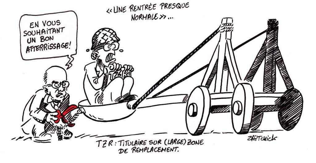 dessin presse humour coronavirus covid-19 image drôle Jean-Michel Blanquer rentrée scolaire professeurs remplaçants