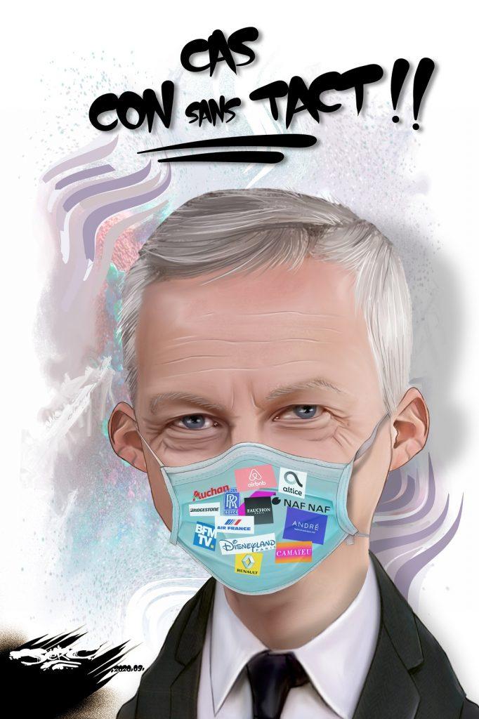 dessin presse humour Bruno Le Maire image drôle coronavirus cas contact