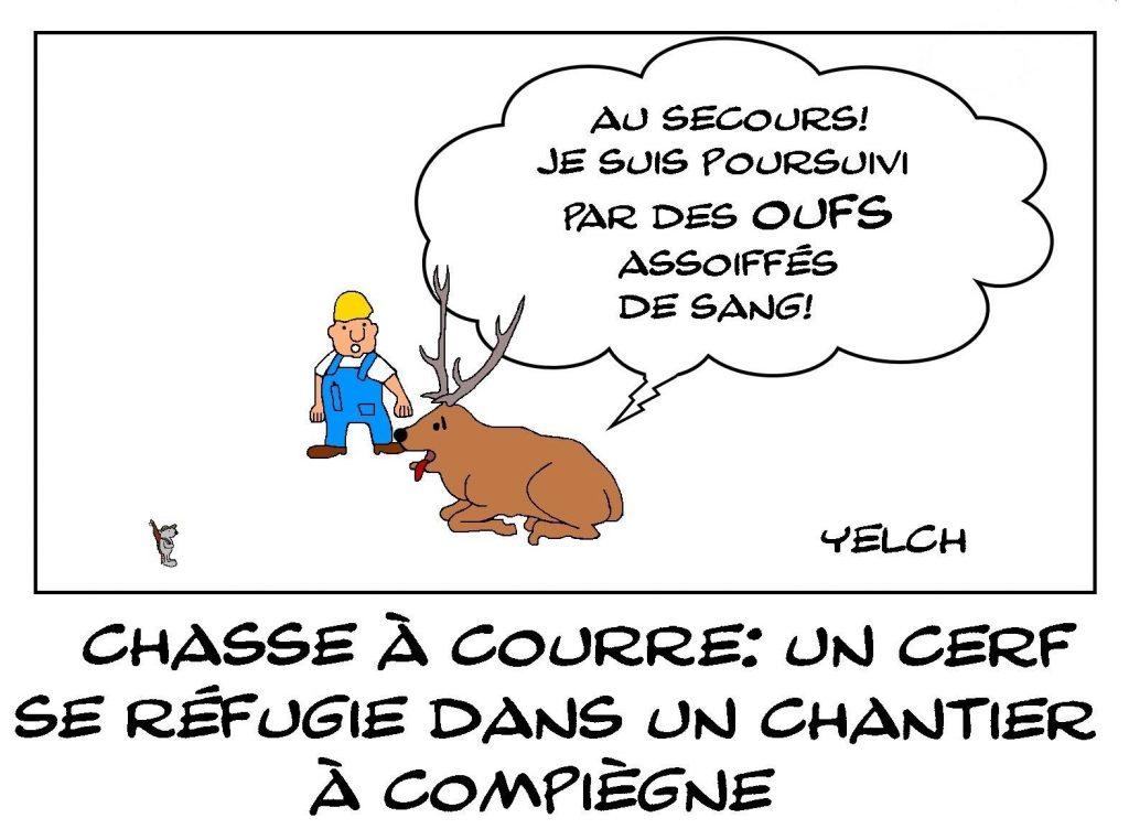 dessins humour chasse à courre image drôle cerf refuge chantier Compiègne