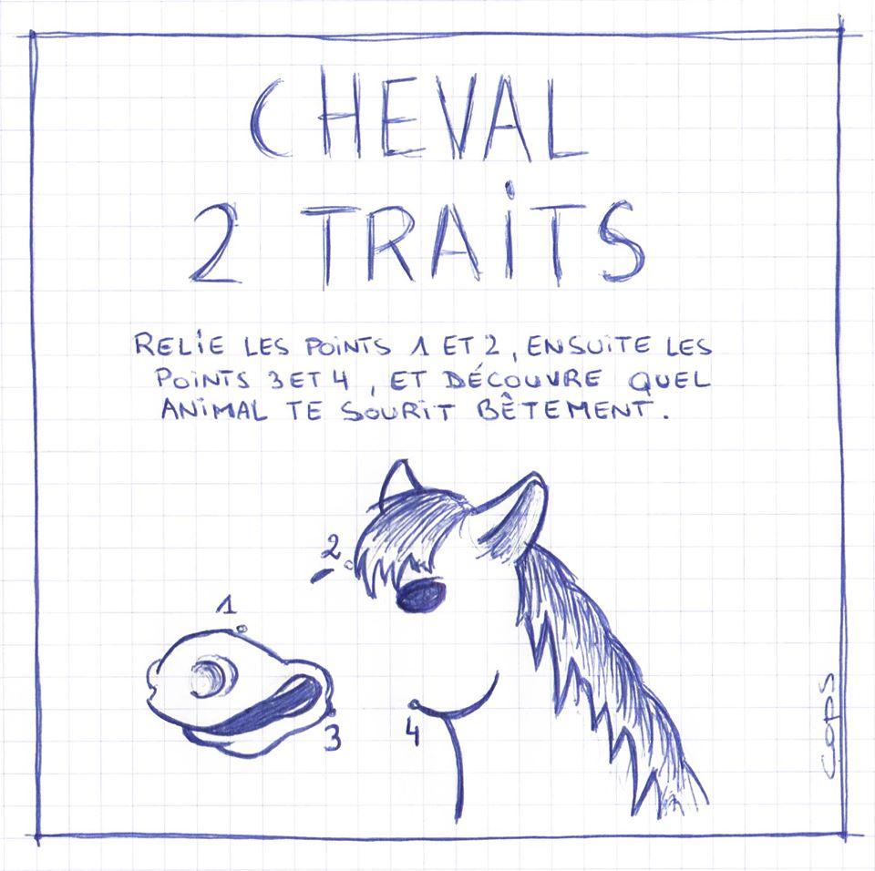 gag image drôle Cheval dessin blague humour cheval de trait cheval points à relier