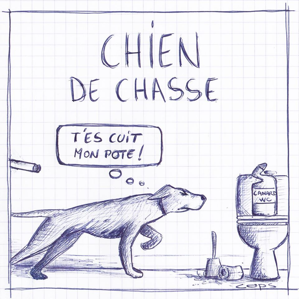 gag image drôle chien chasse dessin blague humour canard WC