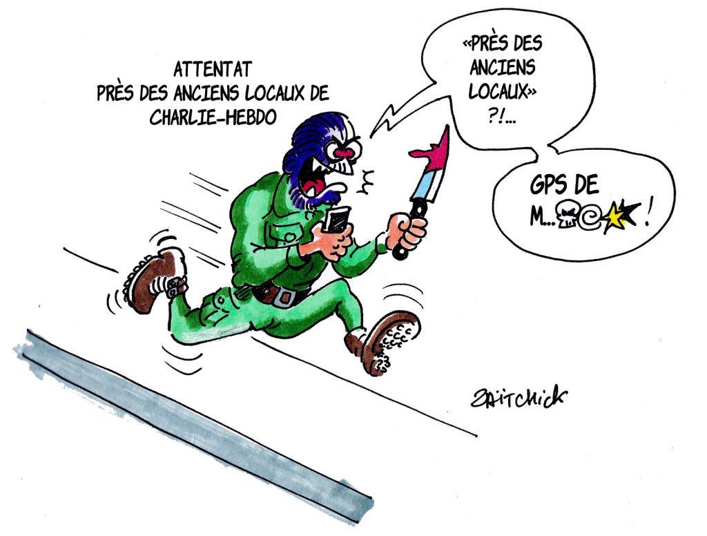 dessin presse humour nouvel attentat Charlie Hebdo image drôle terrorisme arme blanche