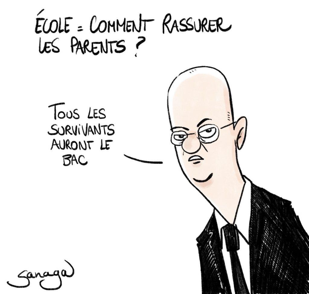 dessin presse humour Jean-Michel Blanquer image drôle survivants coronavirus Baccalauréat