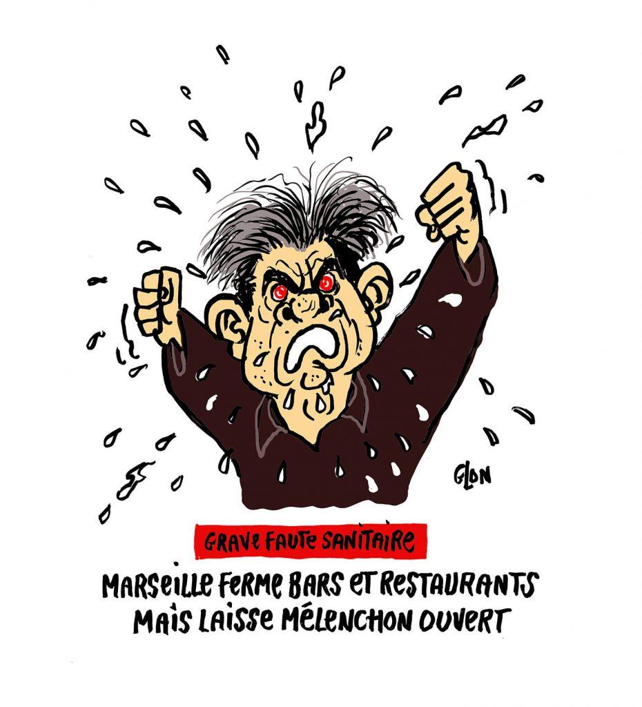 dessin presse humour Jean-Luc Mélenchon image drôle coronavirus Marseille