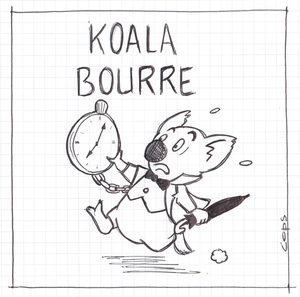 gag image drôle Koala dessin blague humour à la bourre retard courir