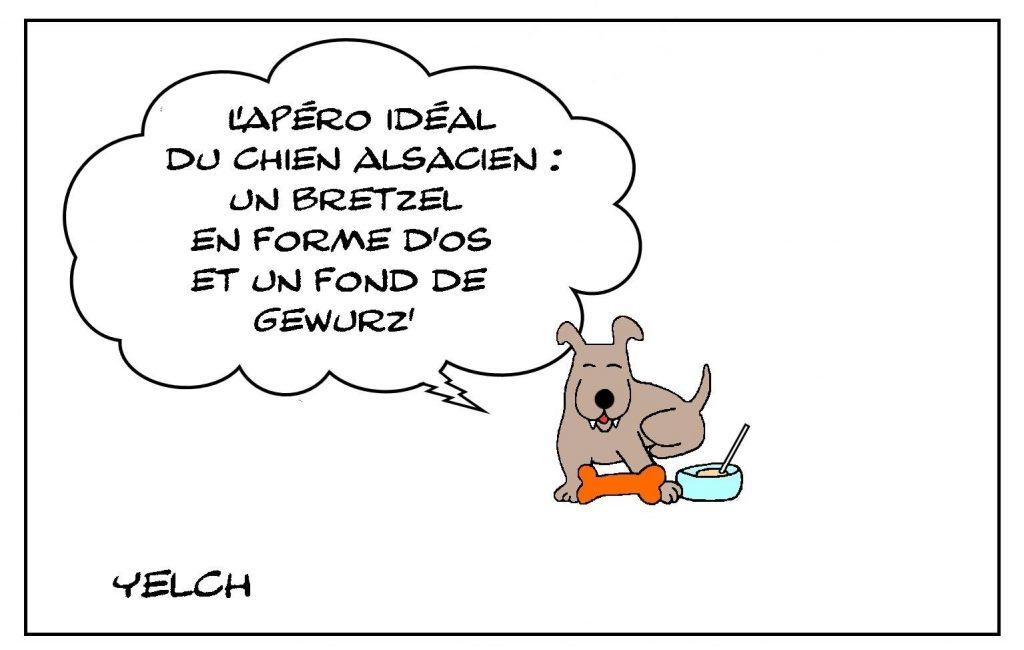 dessin presse humour Seppi chien alsacien image drôle Alsace apéritif