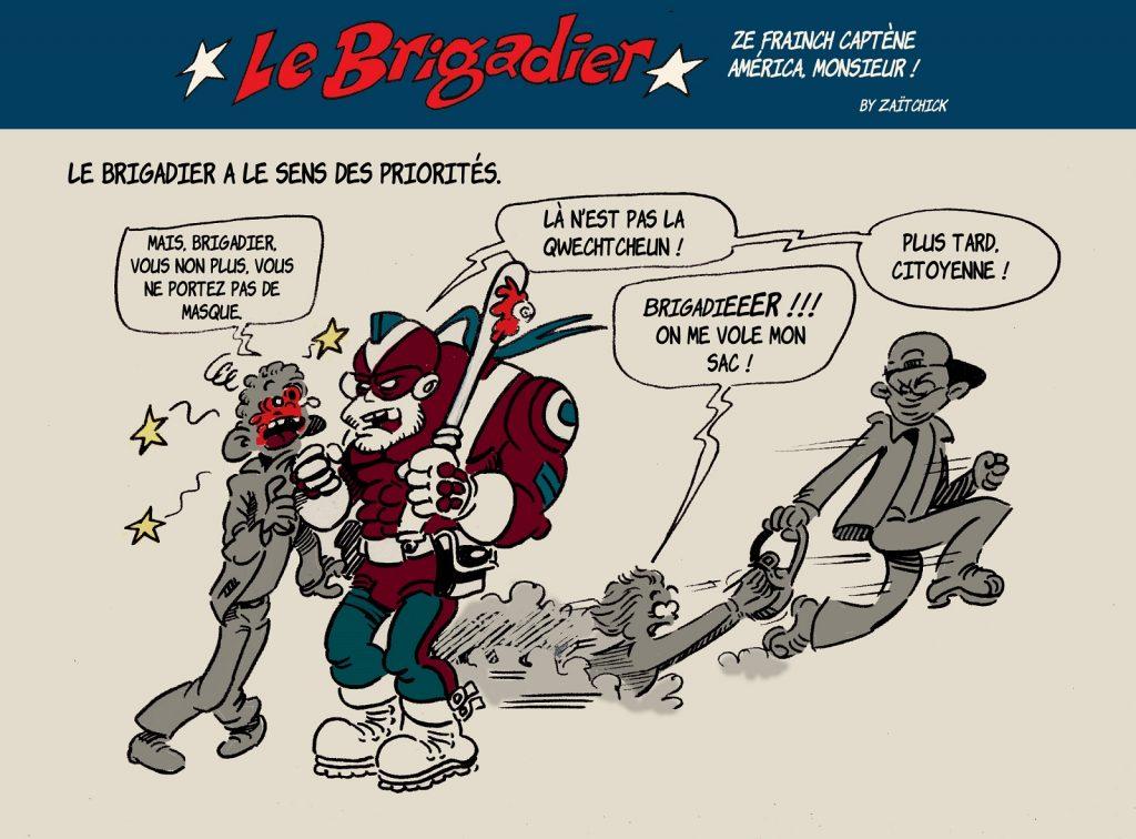 image drôle arrestation coronavirus dessin humour flic brigadier masques priorités