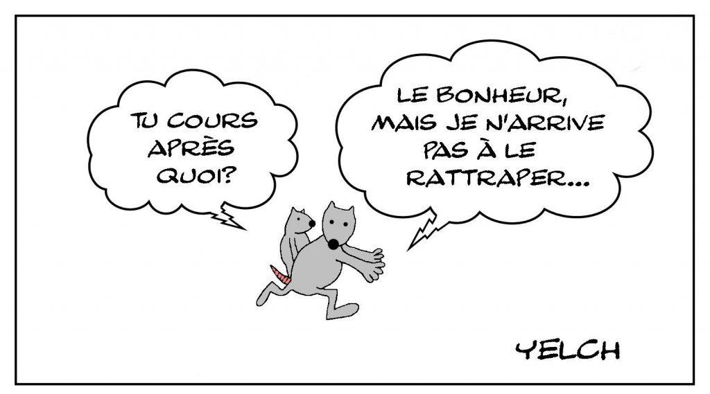 image drôle humour philosophie dessin humoristique course au bonheur