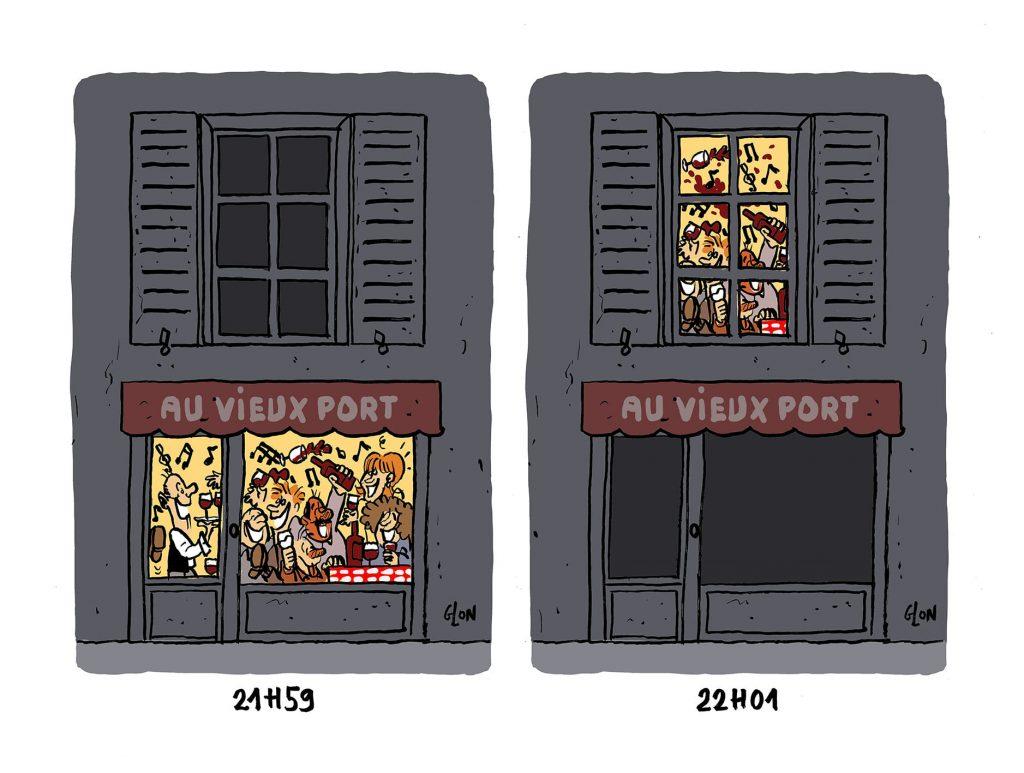 dessin presse humour coronavirus covid-19 image drôle fermeture bars restaurants