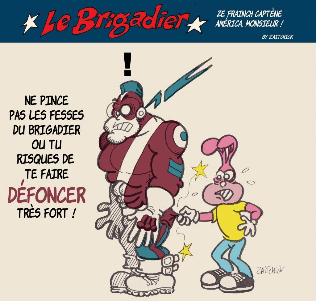 image drôle Le Brigadier dessin humour lapin du métro fesses