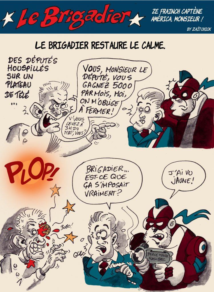 image drôle Le Brigadier dessin humour député restaurateur flashball gilet jaune