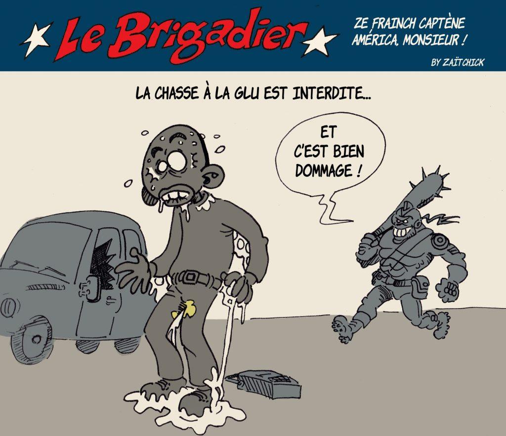 image drôle interdiction chasse à la glu dessin humour flic brigadier délinquance