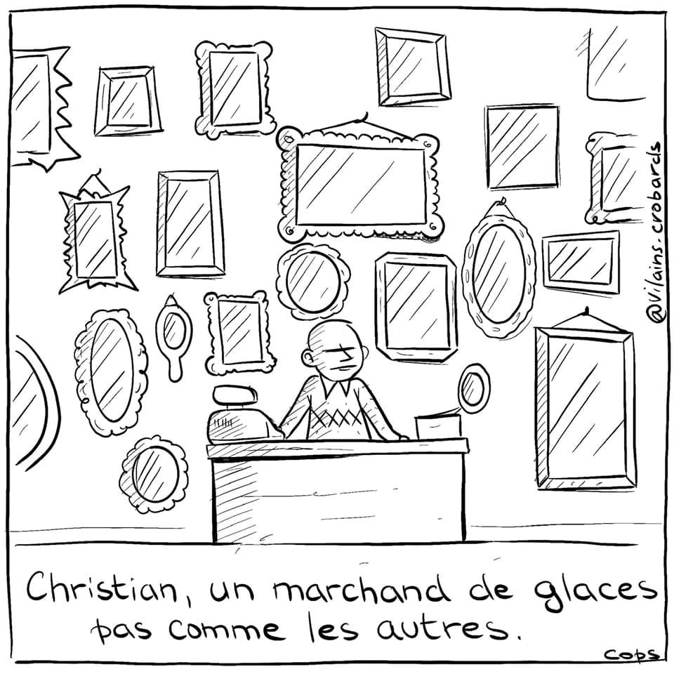 gag image drôle marchand de glaces dessin blague humour miroirs
