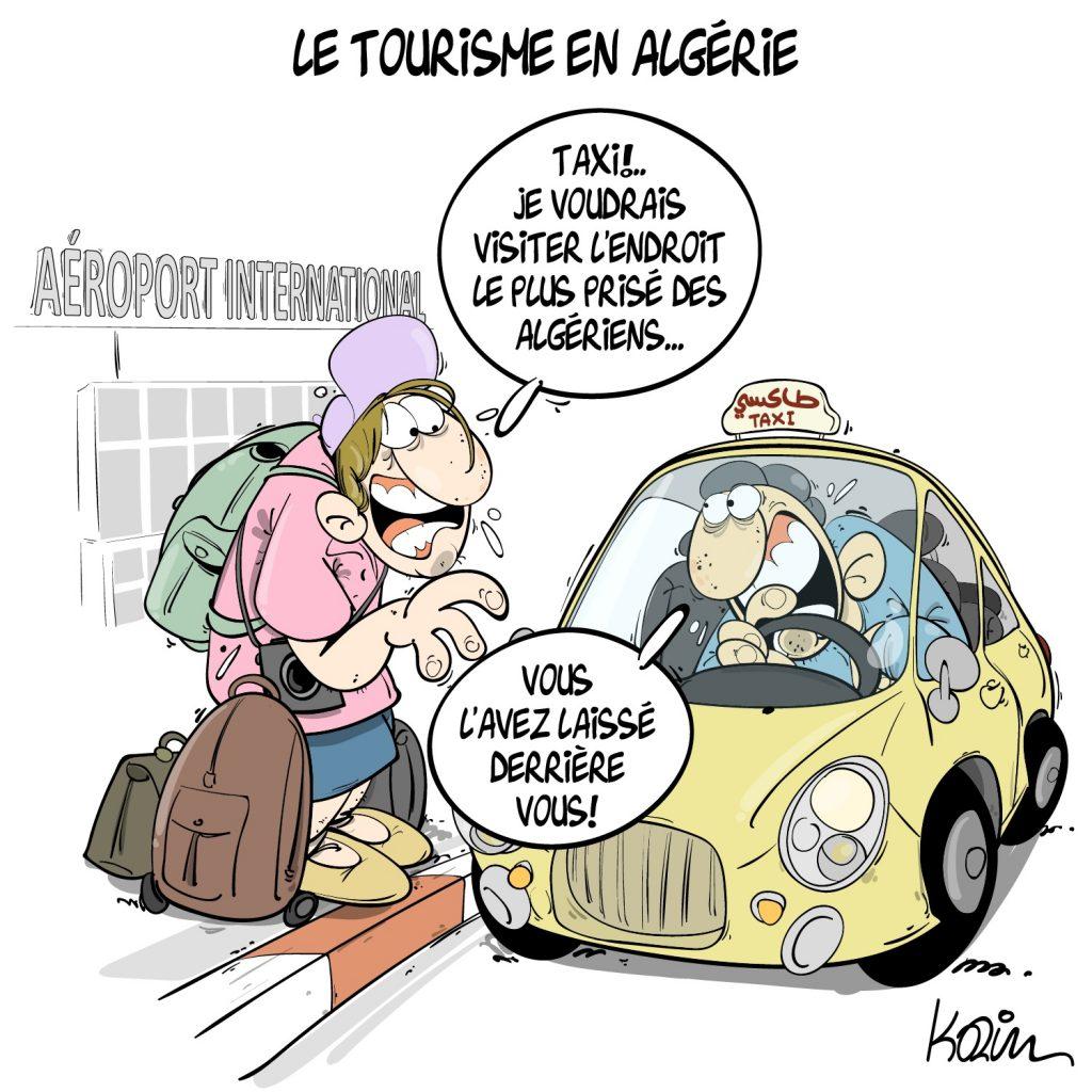 dessin presse humour Algérie tourisme image drôle aéroport international taxi