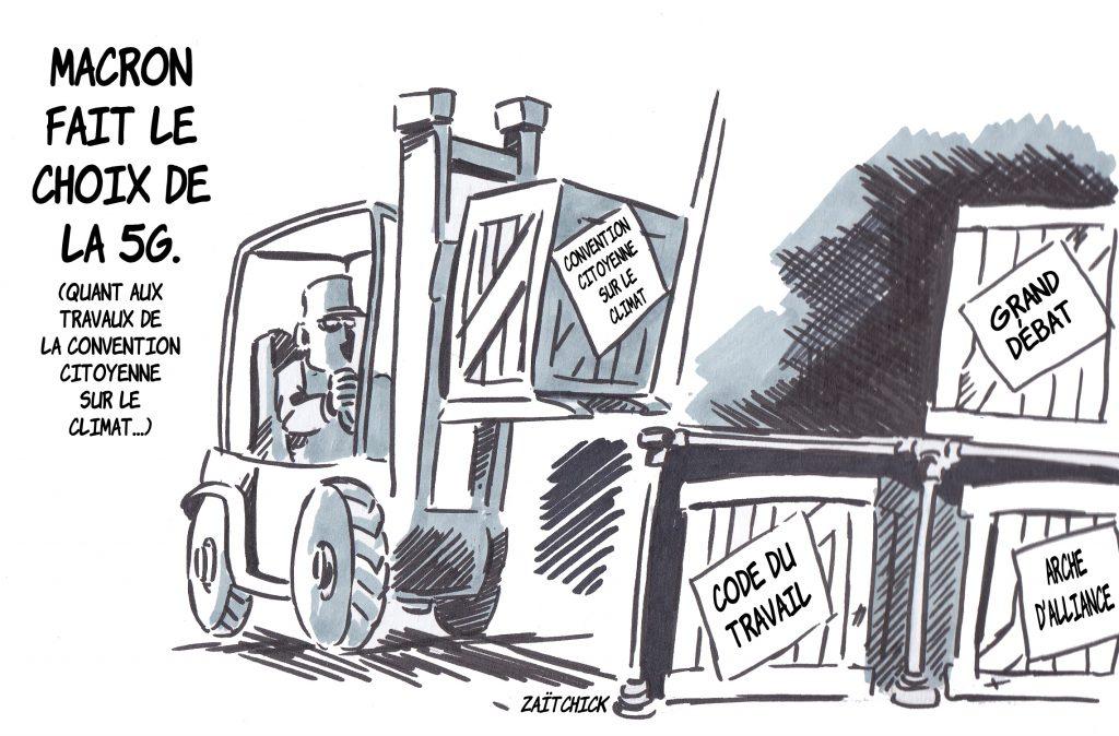 dessin presse humour Emmanuel Macron image drôle 5G climat écologie