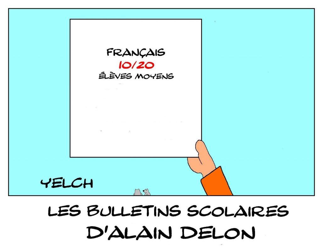 dessin humour Alain Delon image drôle école notes rire bulletin scolaire moyenne