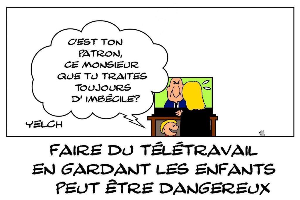 dessins humour danger télétravail image drôle enfants patron
